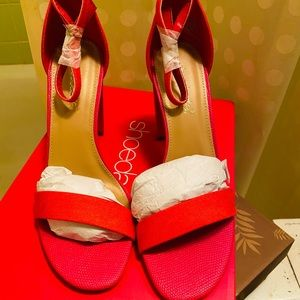 New in Box red & pink sandals!